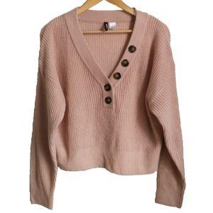 H & M Blush Pink V neck Cropped Knit Sweater, sz L
